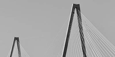 Ravenel Bridge 2 In Black And White Poster by Jenny Hudson