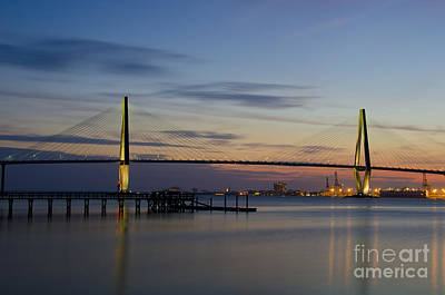 Poster featuring the photograph Ravenel Bridge Nightfall by Dale Powell