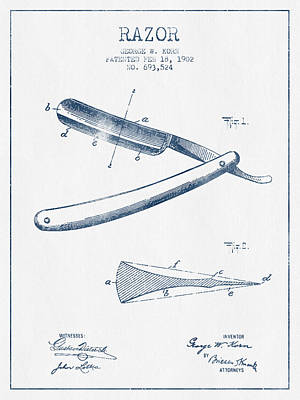 Razor Patent From 1902 - Blue Ink Poster by Aged Pixel
