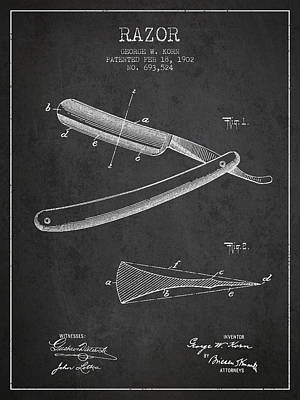 Razor Patent From 1902 - Dark Poster by Aged Pixel