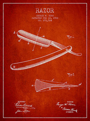 Razor Patent From 1902 - Red Poster by Aged Pixel