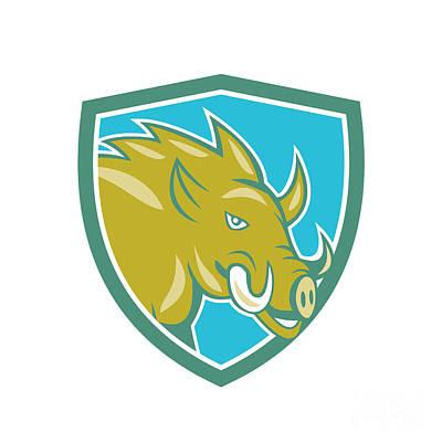 Razorback Head Charge Shield Cartoon Poster