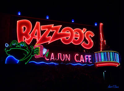 Razzoo's Cajun Cafe At Nite Poster by Robert J Sadler