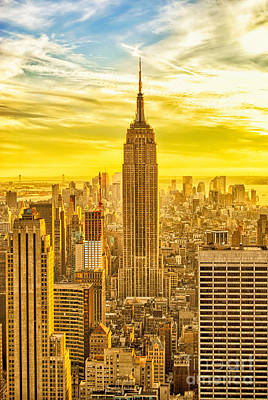 Reaching For The Sky Empire State Building New York City Poster by Sabine Jacobs