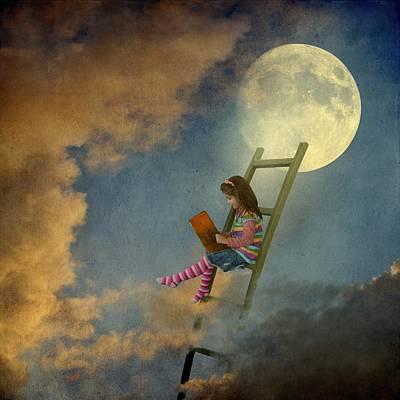 Reading At Moonlight Poster