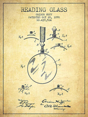 Reading Glass Patent From 1890 - Vintage Poster by Aged Pixel