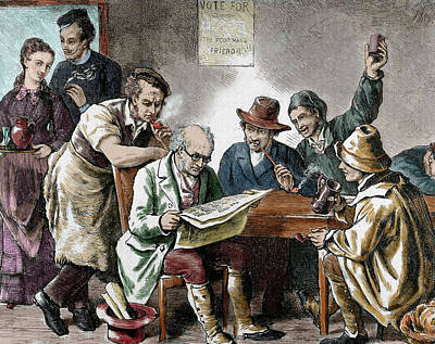 Reading The Newspaper In The Tavern Poster by Prisma Archivo