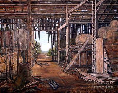 Poster featuring the painting Reads Barn Hwy 124 by Anna-maria Dickinson