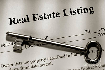 Real Estate Listing Contract And Old House Key Poster