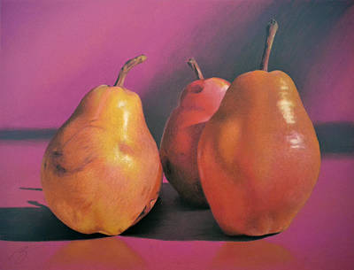 Really Red Pears Pastel Poster by Ben Kotyuk