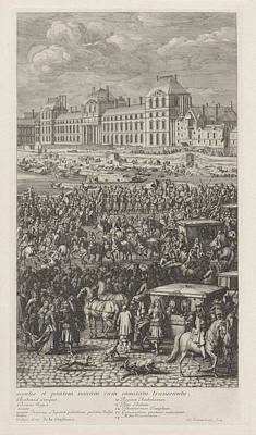 Rear Guard Of The Procession Of King Louis Xiv Of France Poster by Jan Van Huchtenburg And Adam Frans Van Der Meulen