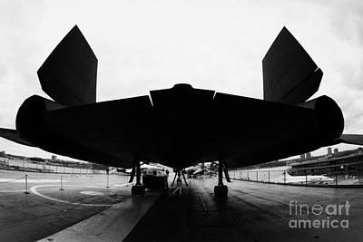rear of Lockheed A12 Blackbird on the flight deck of the USS Intrepid  Poster by Joe Fox