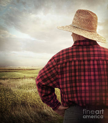 Rear View Of A Farmer Looking At His Land Poster by Sandra Cunningham