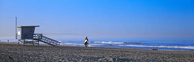 Rear View Of A Surfer On The Beach Poster by Panoramic Images