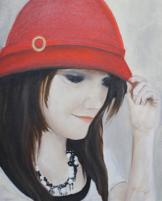 Rebecca's Red Hat Poster by Patricia Olson