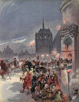 Reception Of Charles V In Amboise Poster by Albert Robida