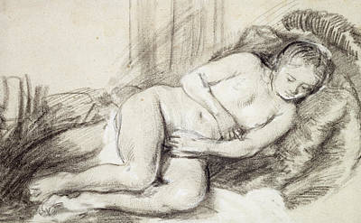 Reclining Female Nude Black Chalk And Bodycolour On Paper Poster