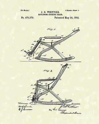 Reclining Rocker 1892 Patent Art Poster by Prior Art Design