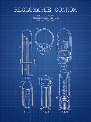 Reclosable Condom Patent From 1986 - Blueprint Poster by Aged Pixel