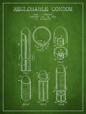 Reclosable Condom Patent From 1986 - Green Poster