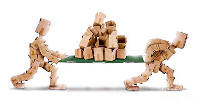 Recycling Boxes By Box Men And Stretcher Poster by Simon Bratt Photography LRPS
