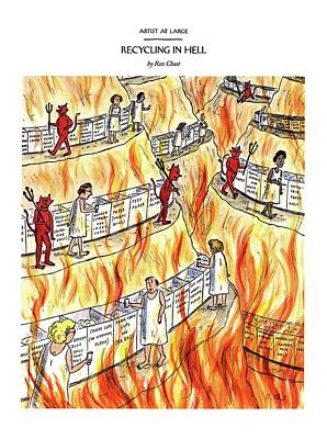 Recycling In Hell Unbent Paper Clips Poster by Roz Chast