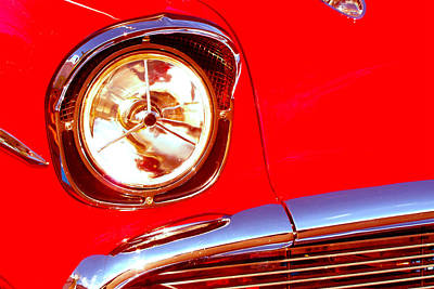 Red 57 Chevy Close Up Poster