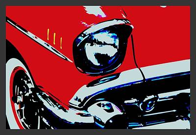 Red 57 Chevy Small Border Poster by L Brown