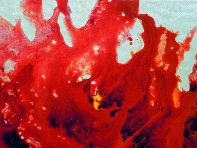 Red Abstract Floral Mexican Shellflower Poster