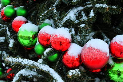 Red And Green Christmas Ornaments Poster