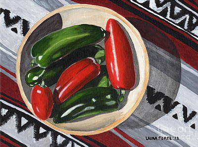 Poster featuring the painting Red And Green Peppers by Laura Forde