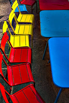 Red And Yellow Chairs Poster by Garry Gay