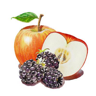 Red Apple And Blackberries Poster by Irina Sztukowski