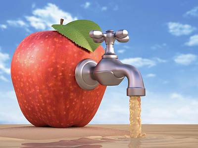 Red Apple With A Tap Poster by Ktsdesign