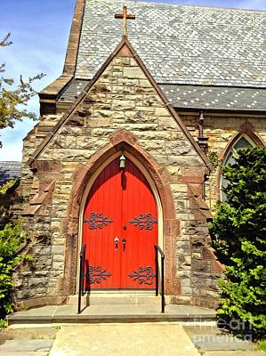 Poster featuring the photograph Red Arch Church Door 1 by Becky Lupe