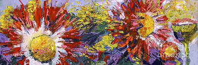 Red Asters Modern Impressionist Flower Painting Poster