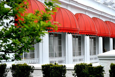 Red Awnings At The Greenbrier Poster