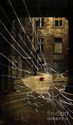 An Old Courtyard And Red Baloon On The Floor Seeing Through Broken Window Glass Poster by Jaroslaw Blaminsky