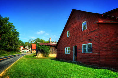 Red Barn And Blacksmith Shop Poster by Greg and Chrystal Mimbs