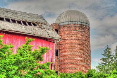 Red Barn And Brick Silo Poster by Deborah Smolinske