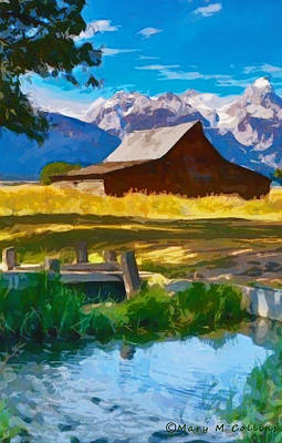 Red Barn And Mountains  Poster by Mary M Collins
