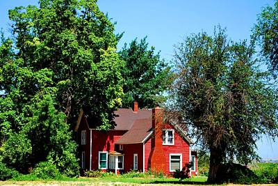 Poster featuring the photograph Red Barn And Trees by Matt Harang