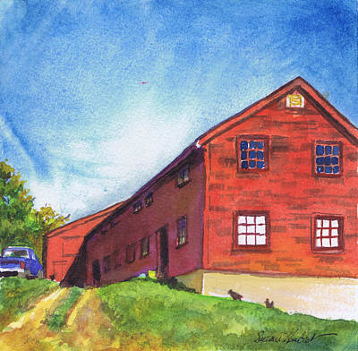 Poster featuring the painting Red Barn Apple Farm New Hampshire by Susan Herbst