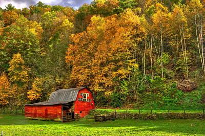 Red Barn Autumn Brevard North Carolina Poster by Reid Callaway