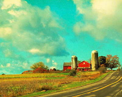 Red Barn Blue Sky Poster