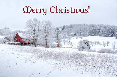 Red Barn Christmas Card Poster