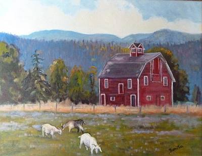 Red Barn In Montana Poster by Bonita Waitl