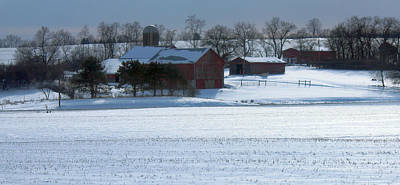 Red Barn In Snow Cover Poster
