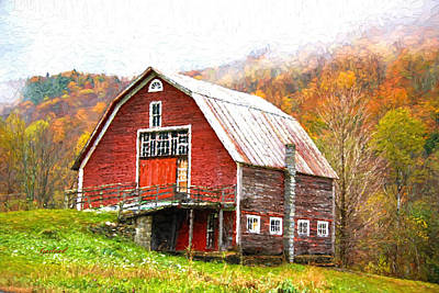 Red Barn In The Mountains Poster