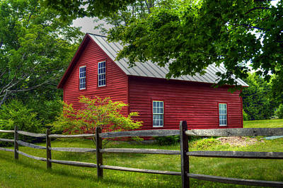 Red Barn In Tyringham - Berkshire County Poster